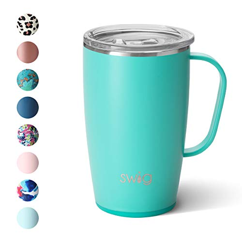 Swig Life 18oz Triple Insulated Travel Mug with Handle and Lid, Dishwasher Safe, Double Wall, and Vacuum Sealed Stainless Steel Coffee Mug in Matte Aqua (Multiple Patterns Available)