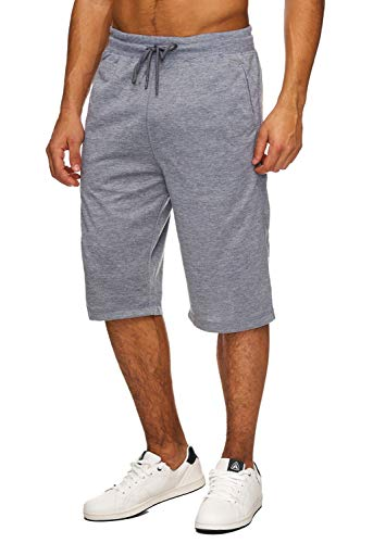 Hidyliu Mens Elastic Waist Drawstring Workout Gym Joggers 3/4 Shorts Summer Casual Sweat Short Pants with Pockets (Dark Grey Workout Shorts, L)