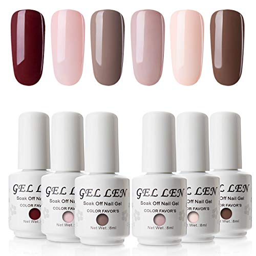 Vernis Gel Semi Permanent UV LED - Gellen Vernis à Ongles Vernis UV LED Nail Gel Soak off Manucure Kit 6×8ml, Nouveauté 08