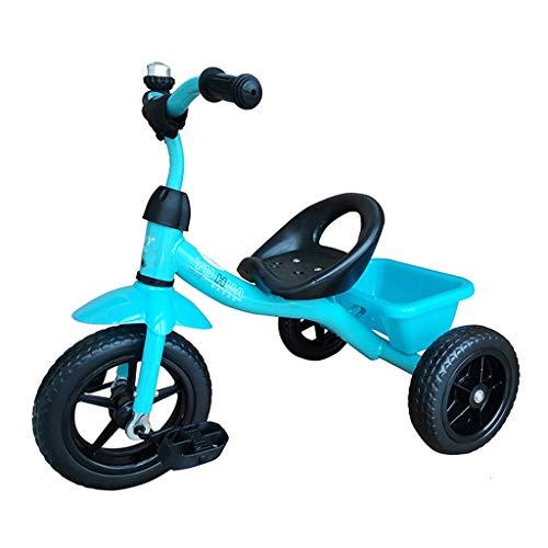 GYF Cochecito de bebé bicicleta triciclo 1 – 3 – 6 años de edad con la bicicleta salida, regalo de cumpleaños para niños y niñas (color azul)