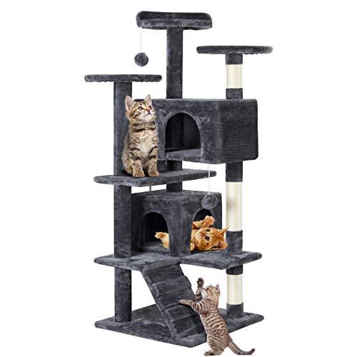 Yaheetech Kratzbaum Stabiler Katzenbaum Katzenkratzbaum Katzenmöbel, Kletterbaum für Katzen 130 cm Hoch
