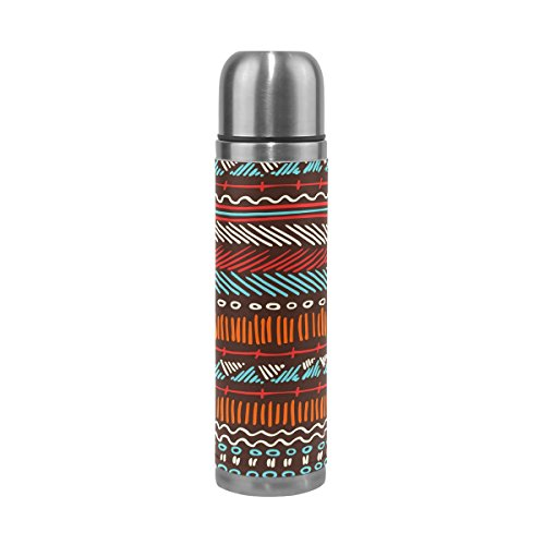 Ffy Go Travel Mug, ethnique Motif tribal vintage personnalisé Thermos en acier inoxydable LeakProof Thermos isotherme extérieur Cuir pour filles garçons 500 ml