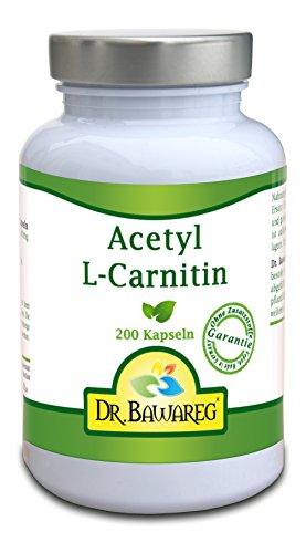 Acetyl-L-Carnitin - 200 Vegi-Kapseln - je 500mg - ALC - ohne Zusatzstoffe - Dr. Bawareg