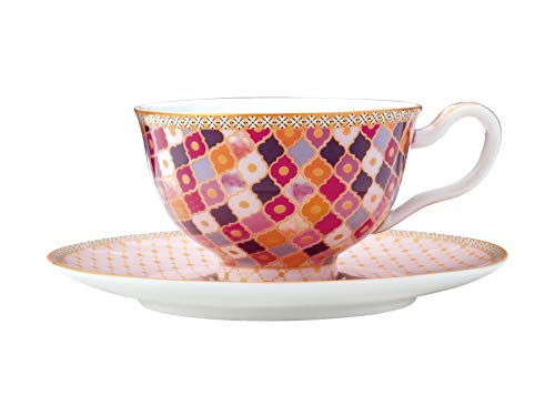 Maxwell & Williams Teas & C's Kasbah Teetasse mit Untertasse, Porzellan, Rose, 200 ml, in Geschenkbox