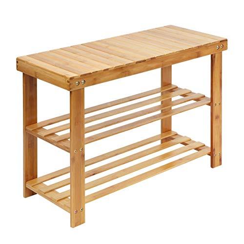 2 pisos de almacenamiento Zapatero Taburete Estilo de madera Zapatero Taburete de almacenamiento Banco de madera de bambú natural a juego Puede acomodar Zapatero de madera de gran capacidad Muy adecu