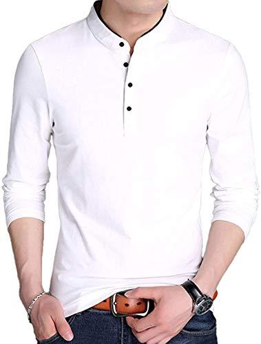 [キャプテン・ケイ] カジュアルシャツ スタンドカラー 長袖 シャツ 5カラー M〜4XL メンズ カジュアル プルオーバー ポロシャツ ハイカラー スタンドネック ハイネック 無地 ゴルフシャツ スポーツ ゴルフ 大きいサイズ 長袖お大きめ オシャレ ノ