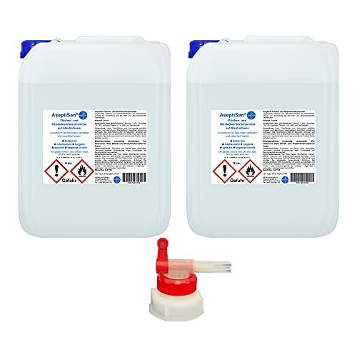 AseptiSan - VAH gelistet - 2 x 5 Ltr. Kanister inkl. 1 x AGH Flächen- und Händedesinfektionsmittel Pharmazentralnummer-16613756 HERRLAN Qualität Made in Germany