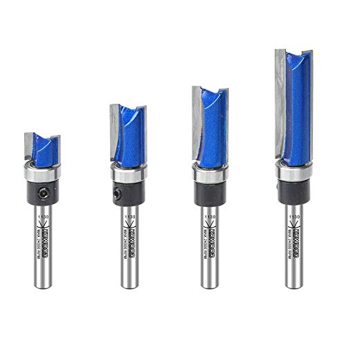 KOWOOD Plus Pattern Flush Trim Router Bit 4 Pieces Set, 1/4 Inch Shank, Top Bearing Flush Trim Router Bits Set, in C3 Carbide. Ideal for Following templates and Routing Sign Lettering