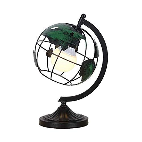 xiaox5 Lámpara de mesilla de noche creativa de hierro forjado, lámparas de mesa tipo globo vertical para salón, dormitorio, salón, mesita de noche