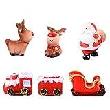 HYSTYLE 6 Pcs Christmas Miniature Ornaments Kit with Resin Snowmen,Reindeer Santa Sleigh Santa Clause Figurines for DIY Micro Landscape Ornament Fairy Garden Dollhouse Decoration