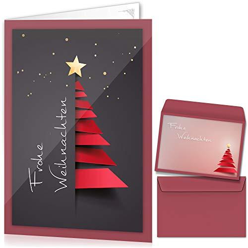 beriluDesign® Weihnachtskarten mit Umschlägen (15er Set) - Klappkarten mit Weihnachtsbaum-Motiv für die schönsten Weihnachtsgrüße - Frohe Weihnachten