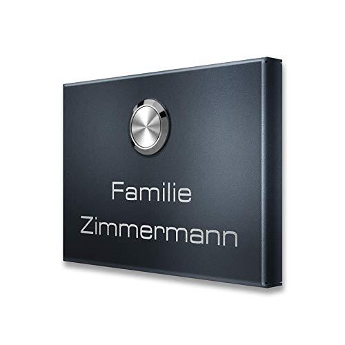 Metzler Funkklingel - Kabellos & UV-beständig - Edelstahl Türklingel in Anthrazit (RAL 7016) - inkl. Gravur - (1 Taster)