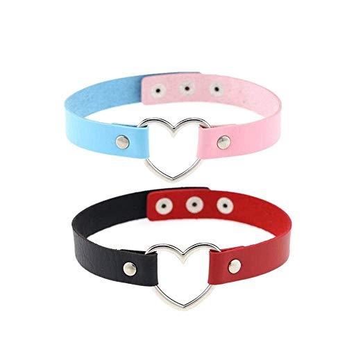 RUITASA New Fashion Girls Love Heart Choker Double Color PU Leather Choker Necklace Goth Choker Collar Chain (2PCS)