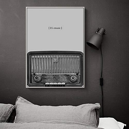 JinYiGlobal Impresión en Lienzo Nostálgico Guitarra en Blanco y Negro Radio CD Equipo de música Arte de la Pared Pintura en Lienzo Imagen Decoración de la habitación 30x40cm Sin Marco