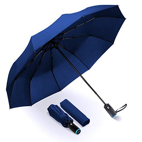 Tadge Goods Windproof Travel Umbrella with Automatic Open/Close (Blue) Rain Resistant Canopy with Teflon Coating | Wind Proof Durability | Includes Carry Bag