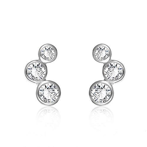 Pendientes de moda Plata de ley 925 Círculo redondo apilable Pendientes de botón pequeños Stud para mujer Regalo de joyería de boda