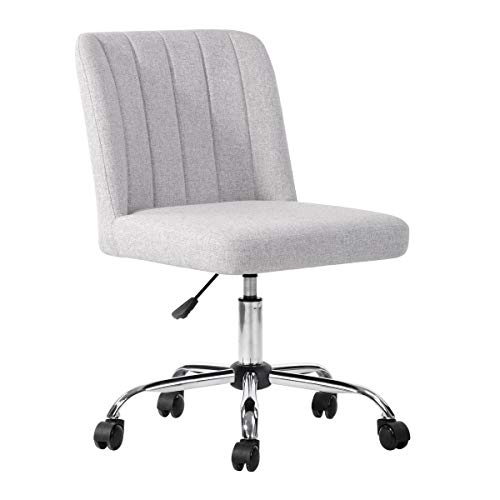 Furniture R Task Chair Office Chair Adjustable Height Swivel Rolling with Metal Legs Velvet/PU/Fabric Uphosltery (Fabric Grey)