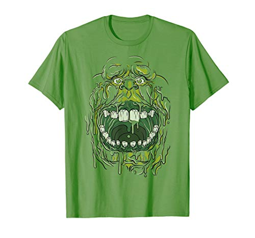 Ghostbusters Slimer Face Halloween T-shirt for Adults, Youth, Kelly or Grass Green