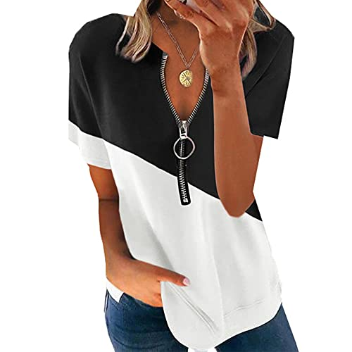 Camiseta De Manga Corta con Cremallera Y Cuello En V con Estampado De Verano, Camiseta Holgada De Moda para Mujer, Camiseta Informal De Calle