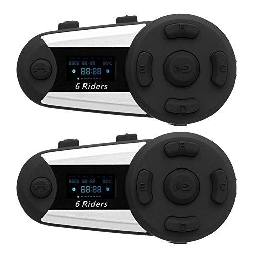 WYYHAA T20S 1200M Interfono Bluetooth Moto, IP65 Impermeabile Casco del Motociclo Interphone Full-Duplex Intercom Bluetooth Headset Bluetooth con Radio FM,B