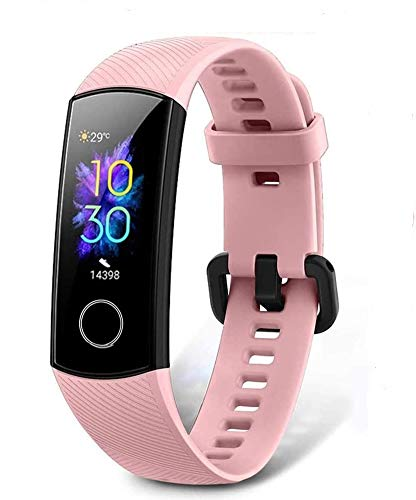HONOR Band 5 Smart Bracelet Trackers Watch Faces Smart Fitness Timer Intelligent Sleep Data Monitoraggio della frequenza cardiaca in tempo reale 5ATM Waterproof Swim SpO2 Blood Oxygen Monitor (Rosa)