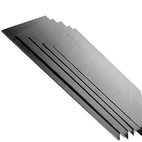 Yunnyp Tablero de fibra de carbono, panel de placa de fibra de carbono completa de 230 mm x 170 mm 3k 0.5/1 / 1.5/2/3 mm