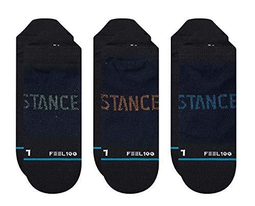 Stance Prime Tab 3 Pack Black Trainer Socks (Black, Large)