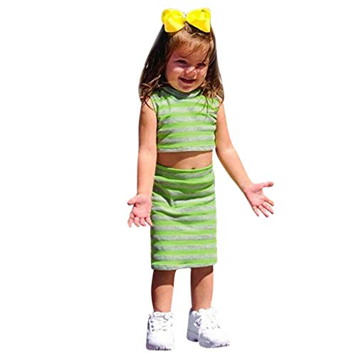 Moneycom❤(6M-4T Toddler bébé Filles sans Manches rayé imprimé Gilet Crop Tops + Jupes Tenues Vert(18-24 Mois)