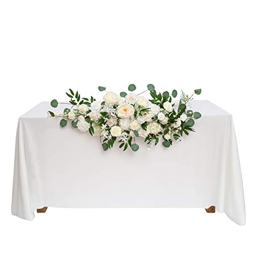 Ling's moment Natural White Artificial Flower Swag Floral Arrangement Centerpiece for Wedding Reception Sweetheart Table Decorations Tablecloth Included
