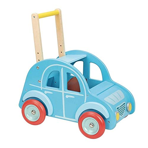 Read About HOMESROP Wooden Blue Car Trolley, Easy to Grip Handle and Rubber Wheel