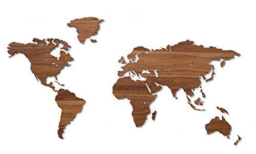 Wooden Amsterdam - Weltkarte Wand - Hochwertig Holz Weltkarte/Wanddekoration - Wandbilder/Wandsticker/Wandaufkleber - (150 x 75 cm, Walnuss)