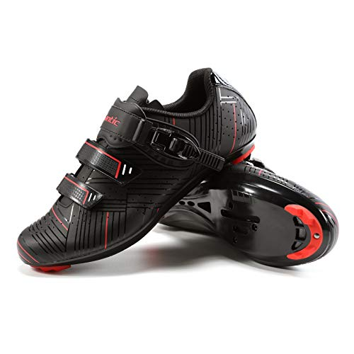 Santic Cycling Shoes Men's or Women's Road Cycling Riding Shoes Spin Shoes with Buckle- Roadway Black
