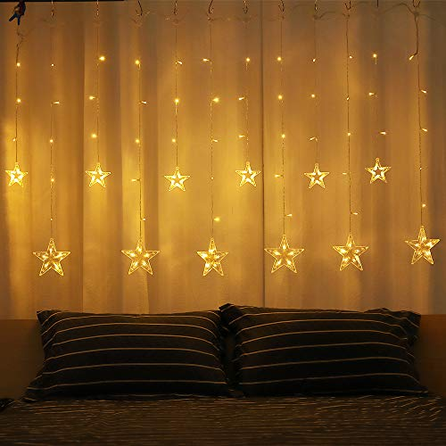 XDlight Christmas Curtain Lights, 12 Big Star 108 LED Remote Curtain Lights Plug in Window String Lights 8 Flashing Modes Decoration for Indoor,Party, Wedding,Bedroom(Warm White)