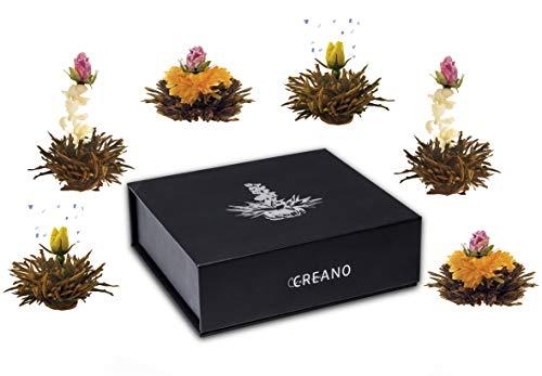 """Creano Tea Flowers Mix 6er """"Fior di Tè"""" - 'Tè nero' in elegante Scatola magnetica con Goffratura argento"""