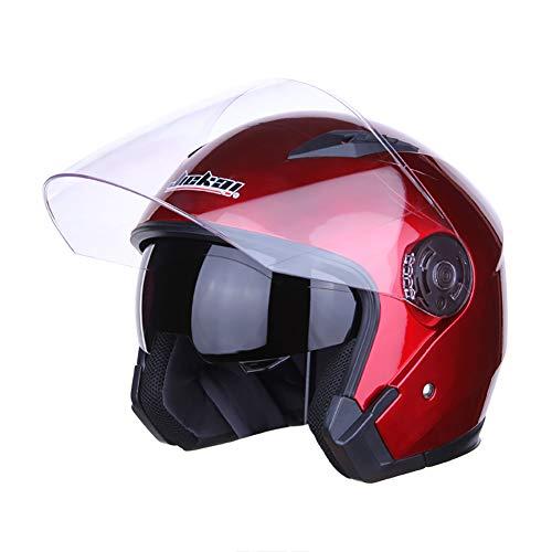 TKer Casco Jet Moto, Casco per Scooter Chopper Mofa Cruiser Pilot Bobber Moto con Integrale Doppia Visiera Rosso, Certificato ECE,XL