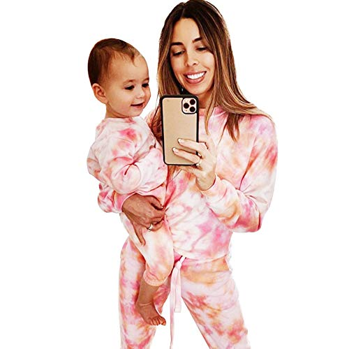 MoneRffi Womens Tie Dye Sweatsuit Set Casual Round Neck Tee and Pants Pajamas Sets Long Sleeve Pullover and Drawstring Jogging Sweatpants Jogger Sets Parent Child LoungewearTie dyeKid 9 12 months