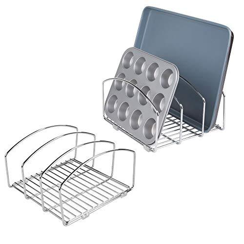 mDesign égouttoir vaisselle (lot de 2) – joli séchoir vaisselle avec 3 compartiments pour une cuisine plus ordonnée – range-couvert en métal chromé pour planches à découper, moules, etc. – argenté