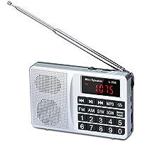 COVVY Radio Portátil Am FM Onda Corta Soporte Tarjeta SD Disco USB Entrada AUX Reproductor de MP3 Altavoz Botón Grande Pantalla LCD Batería Recargable (Gray)