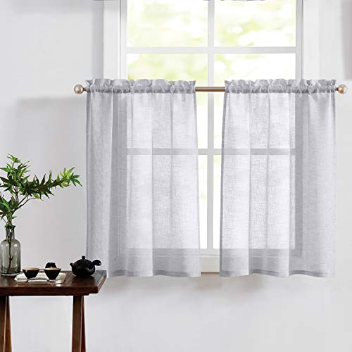 Fragrantex Grey Kitchen Window Curtains 36 Inch Length Tier Curtains Faux Linen Textured Small Window Sheer Cafe Curtains for Bathroom/Basement/Bay Window Rod Pocket,30W x 36L,2Panel