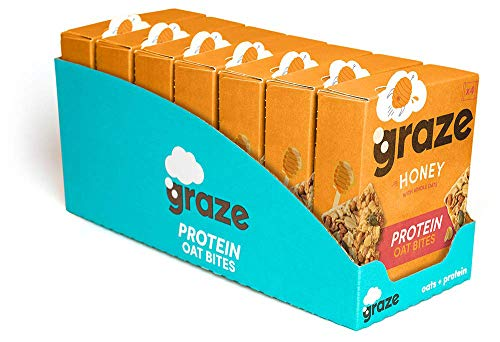 Graze Honey Protein Oat Bites - Vegetarian Healthy Snack with Whole Oats - 30g (28 Snacks - 7 Packs of 4)