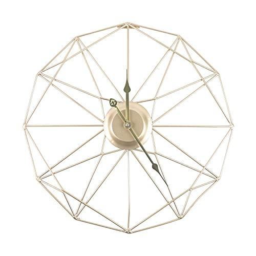 GaoLL Reloj de Pared Grande Moderno de 20 Pulgadas con Forma de geometría, Reloj Decorativo de Trabajo silencioso, Metal