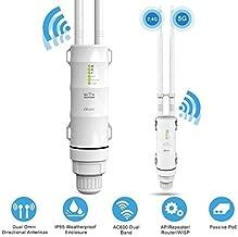 Outdoor WiFi Repeater, Long Range 2.4GHz Outdoor Wireless Access Point for Backyard Garden, High Power Outdoor WiFi Range Extender, IP65 Weatherproof, Dual Omni Directional Antennas, Passive PoE