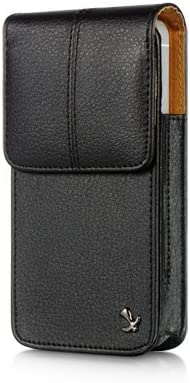 VMG for Apple iPhone 5 / 5S Cell Phone Vertical Leather Holster Belt Clip Case Cover - Black Top Grain Faux Leather w/Built-in (Sewn-in Belt Clip) [Made for The iPhone 5/5S