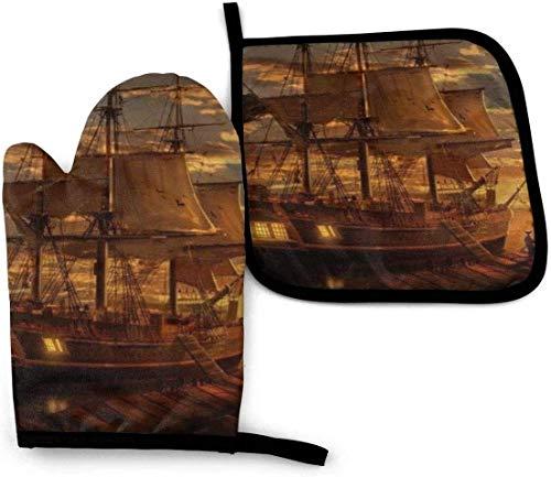 Juegos de Manoplas para Horno y Soportes para ollas Guantes de Horno Resistentes al Calor Mitones de Cocina de Barco Pirata para Barbacoa Cocinar a la Parrilla