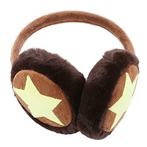 Pinhan Kinder Ohrenschützer mit Pentagramm-Motiv, für Kinder und Mädchen, für Skifahren, Laufen, Camping, Radfahren, Plüsch, braun, 11 cm