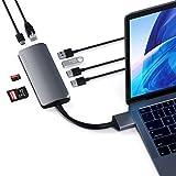 SATECHI Adaptador Multimedia Dual Tipo-C con HDMI 4k, USB-C PD, Gigabit Ethernet, Lector de Tarjetas MicroSD, USB 3.0 - Compatible con 2020/2019/2018 MacBook Pro, 2020/2018 MacBook Air (Gris)