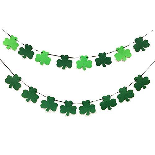 2 Pack St. Patrick 's Day Decorations - Shamrock Clover Garland Ribbon Banner,Felt Banner Decor Irish Party Supplies Ornament Green Decor