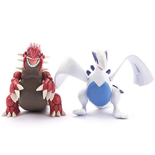 Therfk 2 Stück / Set Pokemon Groudon Lugia Actionfigur Spielzeug 8Cm, PVC Modelle Kinder Weihnachten Geburtstagsgeschenke