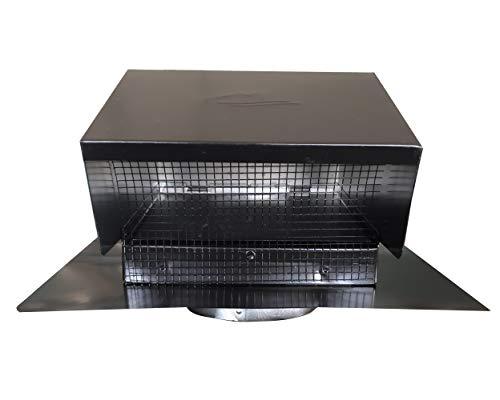 "Builder's Best 084633 Galvanized Steel Roof Vent Cap with Removable Screen & Damper, 6"" Diameter Collar, Black"