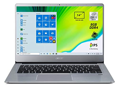 "Acer Swift 3 SF314-58-597S Pc Portatile, Notebook con Processore Intel Core i5-10210U, 8 GB DDR4, 512 GB PCIe NVMe SSD, Display 14"" FHD IPS LED LCD, Scheda Grafica Intel UHD, Windows 10 Home, Silver"